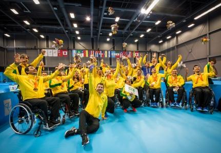 Toronto,Tênis de Mesa, na foto a equipe brasileira no Parapan 2015. ©Leandra Benjamin /MPIX/CPB