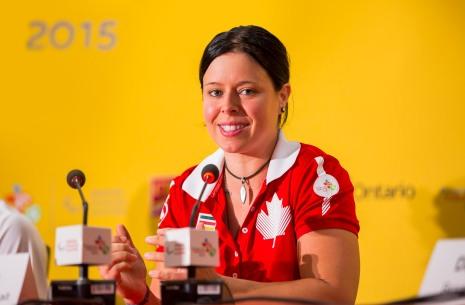 Toronto - Coletiva de imprensa atletas, na foto Cindy Ouellet. ©Leandra Benjamin/MPIX/CPB